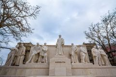Kossuth Lajos Memorial made of a statue designed by Janos Horvay in 1906. Kossuth is a Hungarian hero of the 1848 revolution. Picture of the Kossuth memorial on Royalty Free Stock Images