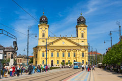 Kossuth square and Protestant Great Church in Debrecen, Hungary Royalty Free Stock Photography