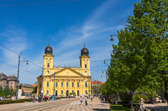 Kossuth square and Protestant Great Church in Debrecen, Hungary Royalty Free Stock Photo