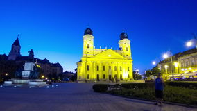 Kossuth square with Reformed Great Church, Debrecen, Hungary stock video footage