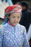 Kostüme von Frauen der ethnischen Minderheit, an altem Dong Van-Markt stockbilder