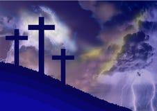Kostümierte Landschaft von Kalvarienberg, mit dem Symbolismus der Kreuzigung von Jesus lizenzfreie stockfotos