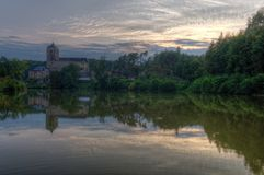 Kost castle and Bily brook. Sunset. Czech Republic Royalty Free Stock Photos
