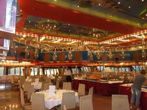 Restaurant on cruise the liner.Kosta Magica.  Royalty Free Stock Photography