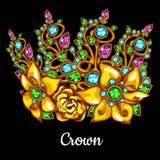 Kostbare kroon met juwelen en bloemenornament vector illustratie