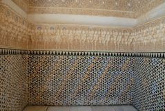 Kostbare ruimte binnen Alhambra in Granada in Spanje Royalty-vrije Stock Foto's