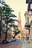 Kostel in the end of the street .Poland Royalty Free Stock Photos