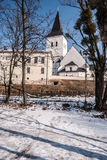 Kostel Povyseni sv. Krize church in Karvina - Frystat city in Czech republic. During winter day with snow and clear sky Stock Photos