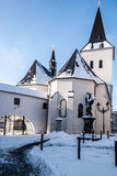 Kostel Povyseni sv. Krize church in Karvina - Frystat during winter. Kostel Povyseni sv. Krize church in central part of Karvina city named Frystat in Czech Royalty Free Stock Photography