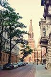Kostel slutligen av gatan poland Royaltyfria Foton