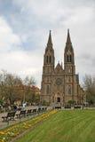Kostel SV Ludmily (église de St Ludmila) à la place de paix à Prague, République Tchèque Images libres de droits