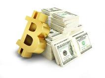 Kosten bitcoin in den Dollar auf einer weißen Illustration des Hintergrundes 3D, Wiedergabe 3D Lizenzfreie Stockfotos