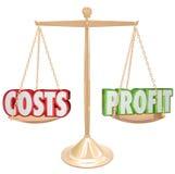 Kosten versus Winst Gouden Saldo het Wegen Woorden royalty-vrije illustratie