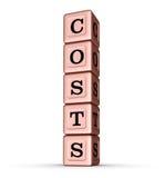 Kosten-Wort-Zeichen Vertikaler Stapel von Rose Gold Metallic Toy Blocks Lizenzfreie Stockbilder