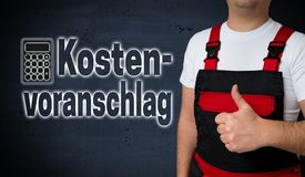 Kostenvoranschlag in german Cost estimate is shown by craftsma Stock Photos