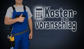 Kostenvoranschlag in german quotation with calculator and craf. Tsman with thumbs up Royalty Free Stock Images