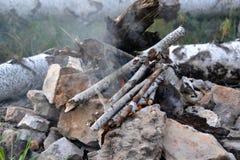 Koster del humo de las ramitas del abedul Foto de archivo libre de regalías