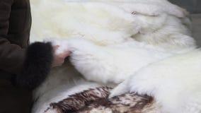 Kostiumowej zrywanie ciepłej zimy barani futerko w rynku Kobiet ręki wybiera zwierzęcej skóry dywan dla sprzedaży w miasto ulicy  zdjęcie wideo