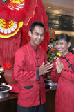 kostiumowy Chińczyka kelner Obraz Royalty Free