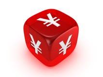 kostka do gry czerwieni znaka półprzezroczysty jen Zdjęcie Royalty Free