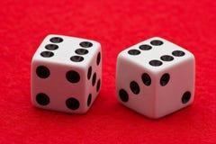 kostka do gry czujący czerwony biel obrazy royalty free