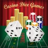 Kostka do gry gry z białymi kostka do gry i kasynowym układem scalonym royalty ilustracja