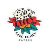 Kostka do gry i faborek z słowem Szczęsliwym, klasycznego Amerykańskiego stara szkoła tatuażu loga projekta wektorowa ilustracja  ilustracja wektor