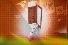 Kostka do gry kroki i otwarte okno, pomocy pojęcie Zdjęcie Stock