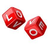 kostka do gry miłości czerwień Zdjęcia Royalty Free