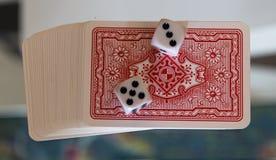 Kostka do gry, monety i karta do gry, Obraz Stock