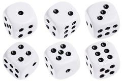 kostka do gry odizolowywali biel sześć zdjęcia royalty free