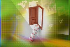 Kostka do gry otwarte okno i kroki Fotografia Stock
