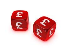 kostka do gry pary funta czerwieni znak półprzezroczysty Obraz Royalty Free