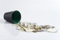 kostka do gry pieniądze Zdjęcie Stock