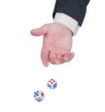 kostka do gry ręki rzuty Obraz Royalty Free