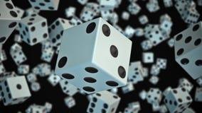 Kostka do gry Unosi się w przestrzeni Przeciw czerni ilustracja wektor