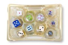 Kostka do gry ustawiający w czekolady pudełku Obraz Stock