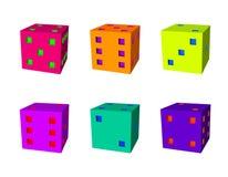 Kostka do gry ustawiający 3d Wektorowa kolorowa ilustracja Obraz Royalty Free