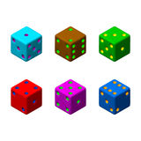 Kostka do gry ustawiający 3d Wektorowa kolorowa ilustracja 3D isometric styl Obraz Royalty Free