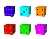 Kostka do gry ustawiający 3d Wektorowa kolorowa ilustracja Zdjęcie Royalty Free