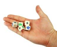 Kostka do gry w ręce Fotografia Stock