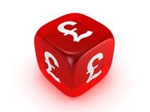kostka do gry walą czerwieni szyldowy półprzezroczystego Obrazy Royalty Free