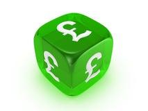 kostka do gry zielonego funta znak półprzezroczysty Obraz Stock