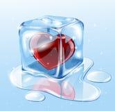 Kostka lodu z sercem Fotografia Stock