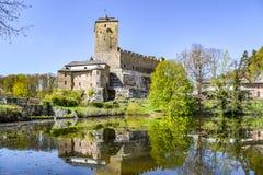 Kostkasteel - gotisch middeleeuws bolwerk in Boheems Paradise, Cesky Raj, Tsjechische Republiek stock afbeeldingen