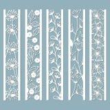 Kostki do gry i laseru rżnięci ornamentacyjni panel z kwiecistym wzorem dzwon, dandelion, orchidea, kwiaty i liście, Laser rżnięt ilustracji
