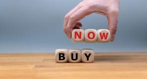 Kostki do gry tworzą wyrażeniowego «zakup teraz « obraz stock