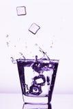 Kostki lodu bryzga w szkło, kostka lodu opuszczali w szkło woda Obraz Stock