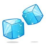 Kostki lodu i rozciekły kostki lodu wektorowy ustawiający na odosobnionym Zdjęcie Royalty Free