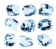 Kostki lodu kolekcja, odizolowywająca na białym tle Obraz Royalty Free